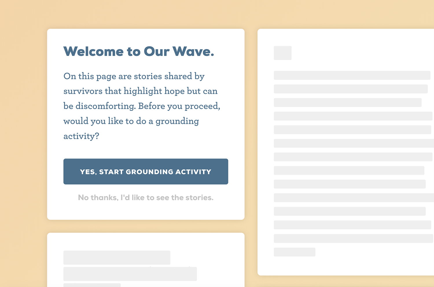 Our Wave Stories Page + Grounding Exercise